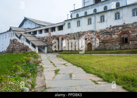 In the courtyard of the Spaso-Preobrazhensky Solovetsky monastery, Arkhangelsk oblast, Russia. - Stock Photo