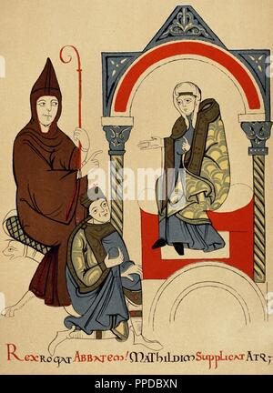 Matilda, Countess of Tuscany, sits on a throne framed by an archway. Her cousin, Holy roman Emperor Henry IV (1050-1106) kneels before her in supplication. Behind him, the Abbot Hugh of Cluny sits on an elaborate seat holding a crosier. Italy. 12th century. Medieval miniature, facsimile. - Stock Photo