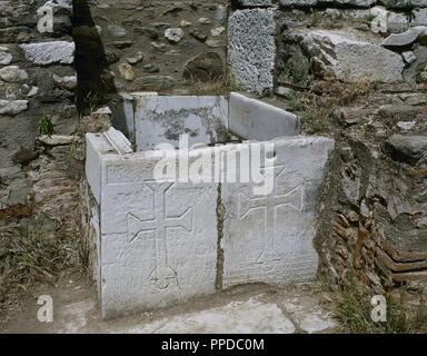 Crosses sculpted in a slab of the Roman city of Sardis. It was common to carve Christian symbols in places of pagan worship in the early years of Christianity. Anatolia, Turkey. - Stock Photo