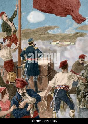 Spain. Cantonal Revolution. Murcia. Cartagena. Capitulation of Cartagena, January 12, 1874 after the siege of Canton by General Jose Lopez Dominguez. Engraving. La Ilustracio_n Ibe_rica, 1898. Colored. - Stock Photo