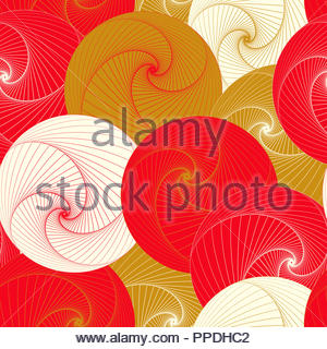 graphic vortex balls seamless pattern in red ivory gold - Stock Photo