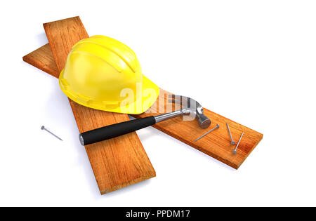 Hard Hat and Working Tools - Construction Concept. 3D illustration - Stock Photo