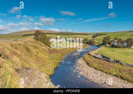 North Pennines AONB Landscape, the  remote farming hamlet of Langdon Beck, Teesdale, County Durham, UK in bright autumn sunshine - Stock Photo