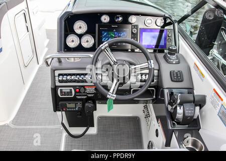 NORWALK, CT, USA-SEPTEMBER 22, 2018: Formula 310 BR shown at   Progressive Norwalk Boat Show 2018. - Stock Photo