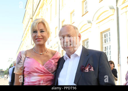 Director Joseph Vilsmaier with girlfriend Birgit Muth at the summer reception of the Bavarian Landtag (State Parliament) in Schleissheim Palace. - Stock Photo