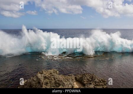Mapu a Vaea or 'Whistle of the Noble' are natural blowholes on the island of Tongatapu, Tonga - Stock Photo