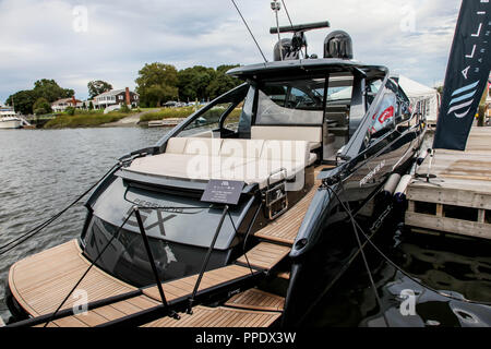 NORWALK, CT, USA-SEPTEMBER 22, 2018: Pershing 5X shown at  Progressive Norwalk Boat Show 2018. - Stock Photo