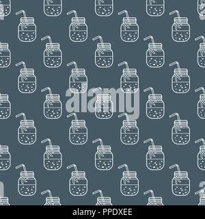 Seamless pattern with smoothie in jars and tubes. Healthy eating habits. Easy cooking process. - Stock Photo