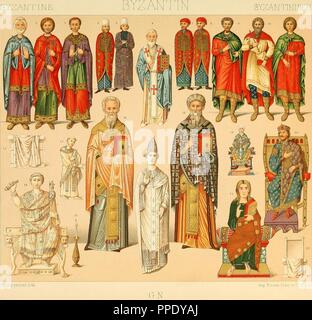 Drawing of the various Byzantine costumes, made from patterned cloth, Byzantine silk, woven and embroidered, from the book ' Le costume historique, 1888. Cinq cents planches, trois cents en couleurs'. Courtesy Internet Archive. () - Stock Photo