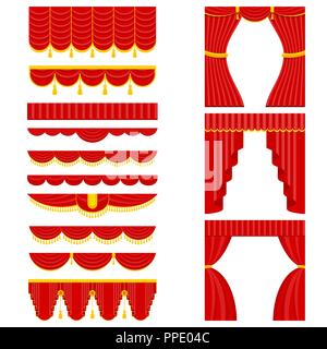 set of red theater curtain and lambrequins - Stock Photo