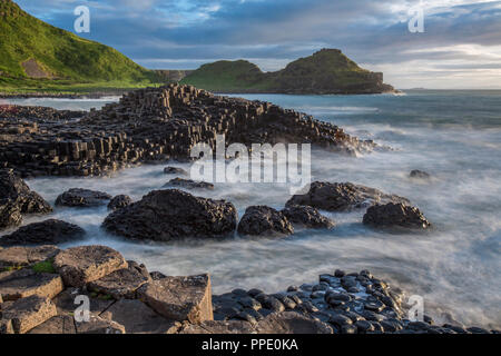 The Giant's Causeway, an area of about 40,000 interlocking basalt columns, the result of an ancient volcanic eruption. County Antrim, Northern Ireland - Stock Photo