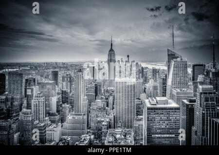 New York skyline in black and white - Stock Photo