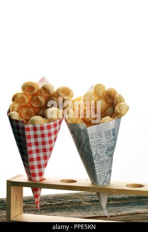 Hong Kong style egg waffle on wooden board. bubble waffle. street food waffles - Stock Photo