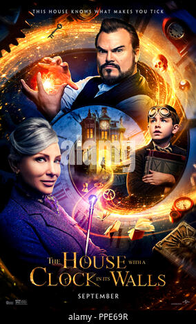 The House with a Clock in Its Walls (2018) directed by Eli Roth and starring Jack Black, Cate Blanchett, Owen Vaccaro and Kyle MacLachlan. An orphan discoverers his uncle is a warlock and helps him find a deadly clock. - Stock Photo