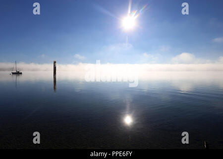 Starnberg near Munich in an autum morning - Stock Photo