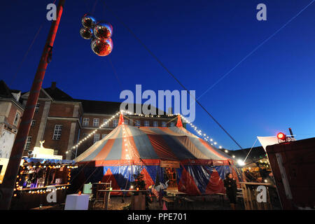 A circus tent at the Christmas market 'Maerchenbazar' in the Viehhof at the Schlachthof Munich. - Stock Photo