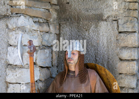 Soldier on guard at gate of Hisar Fortress in Lovech, Bulgaria - Stock Photo