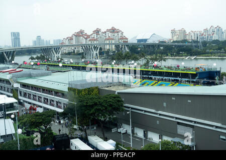 Aerial View of the Permanent Main Grandstand and Garage Area in the Pits of the FI Singapore Grand Prix Night Race from the Singapore Flyer Singapore - Stock Photo