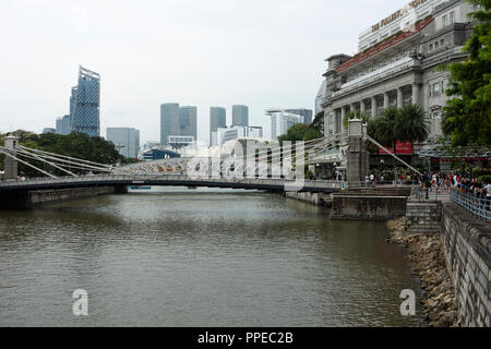 The Landmark Fullerton Hotel and part of the Financial Centre near the Esplanade Prior to the Singapore Grand Prix 2018 Republic of Singapore Asia - Stock Photo