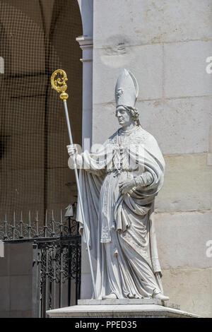 Saint Vergilius statue at Salzburg Cathedral (Salzburger Dom) in Austria - Stock Photo