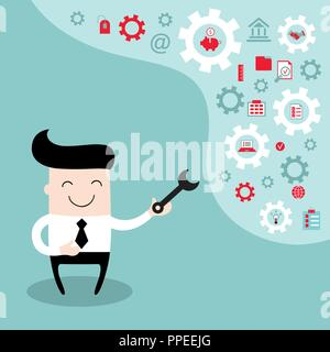 PrintHappy businessman with the gears, thoughts and ideas, fixing every problem - Stock Photo