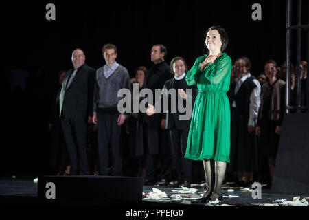 Premiere of the opera 'La Juive' by Fromental Halevy at the National Theater at the opening of the Munich Opera Festival. In the picture, singer Aleksandra Kurzak during the final applause. - Stock Photo