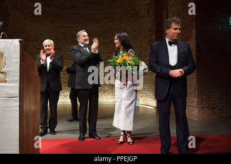 State reception at the opening of the Munich Opera Festival in the Allerheiligen-Hofkirche, following the premiere of the opera 'La Juive' in the National Theater. In the picture (from left) Minister of Culture Ludwig Spaenle, the director of the Bavarian State Opera, Niklaus Bachler and the opera singers Aleksandra Kurzak and Roberto Alagna. - Stock Photo
