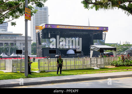 The Padang Stage, National Gallery Singapore and Peninsula Plaza Hotel During Formula 1 Grand Prix of Singapore 2018 Asia - Stock Photo