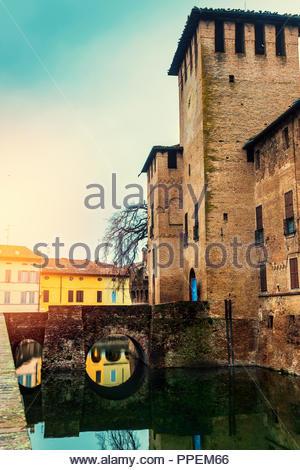 Medieval castle of Rocca Sanvitale in Fontanellato, Emilia-Romagna, Italy - Stock Photo