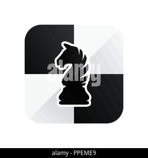 Chess knight vector icon isolated on white background. Chess piece - Stock Photo