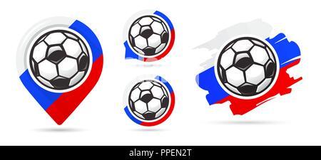 Russian football vector icons. Soccer goal. Set of football icons. Football map pointer. Football ball. Soccer ball vector sign. Scoring a goal - Stock Photo