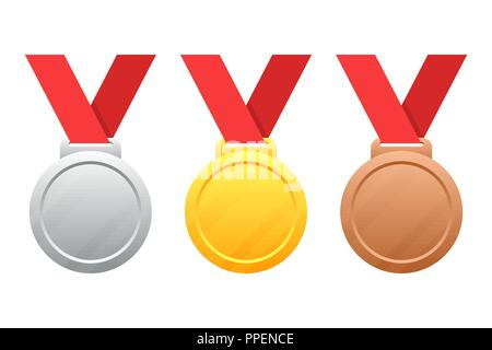 Gold, silver, bronze medals vector illustration isolated on white background - Stock Photo