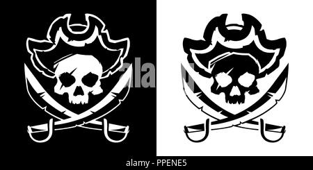 Jolly Roger skull in a hat and crossed swords symbol vector illustration - Stock Photo