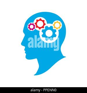 Silhouette human head with gears. Thinking brain vector illustration. Strategic thinking and planning concept. - Stock Photo