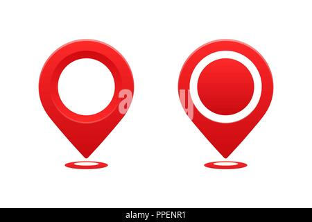 Icons location pointer. Pointer pin marker for travel place vector illustration. GPS navigation. - Stock Photo