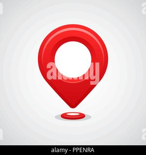 Red map pin pointer location vector icon. GPS navigation. - Stock Photo