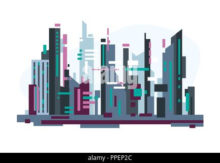 Futuristic city with skyscrapers - Stock Photo