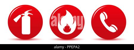 Fire safety vector web icons isolated on white background - Stock Photo