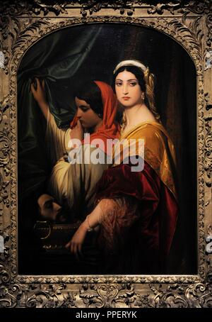 Paul Hippolyte Delaroche (1797-1856). French painter. Herodias with the Head of John the Baptist, 1843. Wallraf-Richartz Museum. Cologne. Germany. - Stock Photo