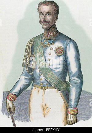 Charles Albert (Turin 1798-Porto, Portugal, 1849). King of Sardinia (1831-1849). Established a constitutional monarchy (1848). He abdicated in favor of his son Victor Emmanuel II. Engraving. - Stock Photo