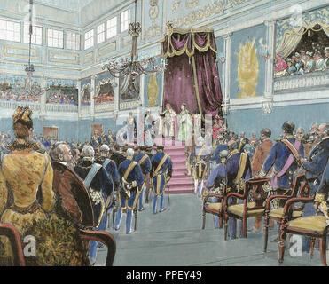 Carles I (Lisbon, 1863- Vila Vic¸osa, 1908). King of Portugal (1889-1908). Son of Louis I and Maria Pia de Savoie. Proclamation of Charles I as king of Portugal on December 28, 1889.  Engraving of 1890. Coloured. - Stock Photo