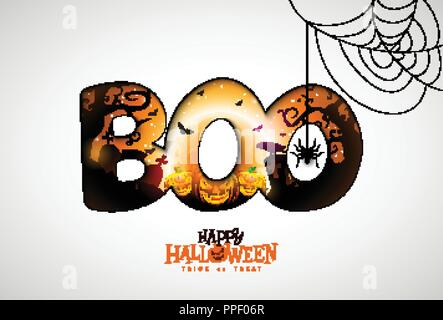 Boo, Happy Halloween design with pumpkin, moon and flying bats in typography lettering on white background. Vector Holiday design template with spider and cemetery for greeting card, flyer, celebration poster or party invitation. - Stock Photo