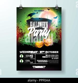 Halloween Party flyer vector illustration with tombstone and scary faced pumpkin on green background. Holiday design template with crow and flying bats for party invitation, greeting card, banner or celebration poster. - Stock Photo