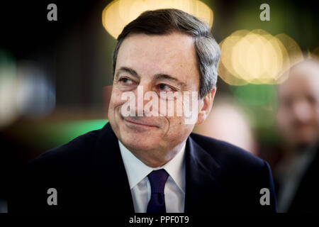 Mario Draghi, President of the European Central Bank (ECB), on the Finance Day of the Sueddeutsche Zeitung in Frankfurt am Main. - Stock Photo
