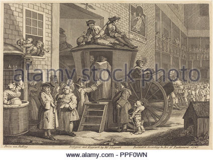 The Stage-coach, or the Country Inn Yard. Dated: 1747. Medium: etching and engraving. Museum: National Gallery of Art, Washington DC. Author: William Hogarth. - Stock Photo