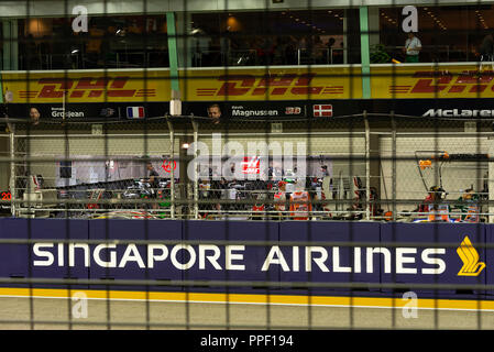The Pit Garages from the Pit Grandstand at the Formula One Motor Race in Marina Bay Singapore Republic of Singapore Asia - Stock Photo