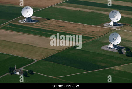 Aerial view of the earth station in Raisting with chapel St. Johann, Bavaria, Germany - Stock Photo