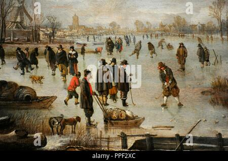 Aert van der Neer (1603/1604-1677). Dutch Golden Age painter. Winter landscape with distractions ont the ice, ca. 1655. Wallraf-Richartz Museum. Cologne. Germany. - Stock Photo