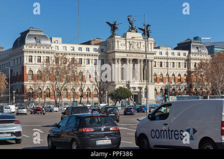 MADRID, SPAIN - JANUARY 22, 2018:  Building of Ministry of agriculture in City of Madrid, Spain - Stock Photo