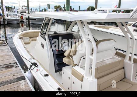 NORWALK, CT, USA-SEPTEMBER 22, 2018: Pursuit S 328 on  Progressive Norwalk Boat Show 2018. - Stock Photo